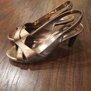 Etienne Aigner Gold Heels Sandals Size 6
